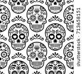 mexican sugar skull vector... | Shutterstock .eps vector #713658151