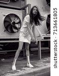 streetstyle  fashion. bw girl... | Shutterstock . vector #713661805