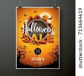 happy halloween vector... | Shutterstock .eps vector #713664619