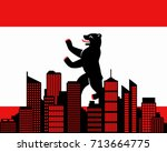 city and flag of berlin | Shutterstock .eps vector #713664775