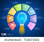 abstract 3d infographic 8... | Shutterstock .eps vector #713671021