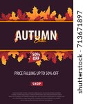 autumn background with leaves.... | Shutterstock .eps vector #713671897