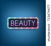beauty  billboard with neon... | Shutterstock .eps vector #713674477