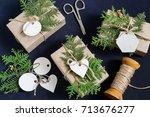 homemade gift box decoration... | Shutterstock . vector #713676277