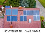aerial view of photovoltaic... | Shutterstock . vector #713678215