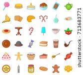 chocolate icons set. cartoon... | Shutterstock .eps vector #713683771