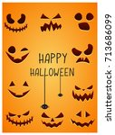 pumpkins faces set  halloween... | Shutterstock .eps vector #713686099