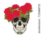sugar skull with decorative... | Shutterstock .eps vector #713688751