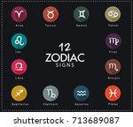 zodiac signs  vector... | Shutterstock .eps vector #713689087