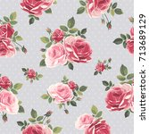 seamless pattern with roses.... | Shutterstock .eps vector #713689129