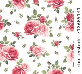 seamless pattern with roses.... | Shutterstock .eps vector #713689141