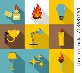 illumination source icon set.... | Shutterstock .eps vector #713689291