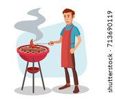 bbq grill meat cooking vector.... | Shutterstock .eps vector #713690119