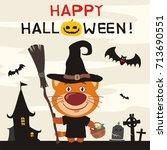 happy halloween  greeting card... | Shutterstock .eps vector #713690551