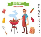 bbq cooking vector. man cook... | Shutterstock .eps vector #713691091
