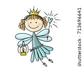 cute little fairy  sketch for... | Shutterstock .eps vector #713696641