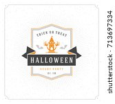 halloween vector illustration...   Shutterstock .eps vector #713697334