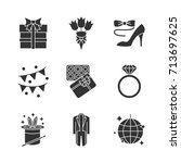 party accessories glyph icons... | Shutterstock .eps vector #713697625