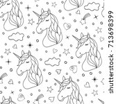 seamless pattern of hand drawn... | Shutterstock .eps vector #713698399