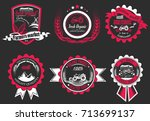 retro set of farm fresh logos. ... | Shutterstock . vector #713699137