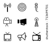 broadcast icons set. set of 9... | Shutterstock .eps vector #713699701