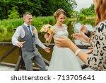 groom and bride dancing and... | Shutterstock . vector #713705641