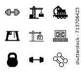 lifting icons set. set of 9... | Shutterstock .eps vector #713708425