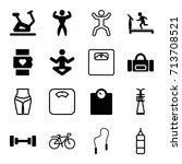 fitness icons set. set of 16... | Shutterstock .eps vector #713708521