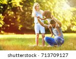 picture of happy young couple... | Shutterstock . vector #713709127