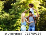 picture of happy young couple... | Shutterstock . vector #713709199