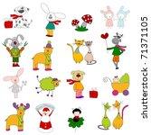 set of cartoons characters | Shutterstock . vector #71371105