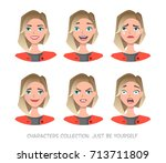 set of emotions for business... | Shutterstock .eps vector #713711809