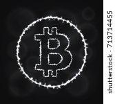 bitcoin vector icon. bitcoin... | Shutterstock .eps vector #713714455