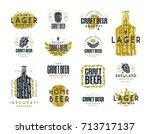 set of craft beer label and...   Shutterstock .eps vector #713717137