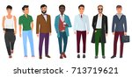vector confident fashion man in ... | Shutterstock .eps vector #713719621