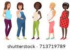 pregnant fashion set. happy...   Shutterstock .eps vector #713719789