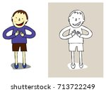a child who celebrates with... | Shutterstock .eps vector #713722249