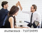businesspeople sitting in... | Shutterstock . vector #713724595