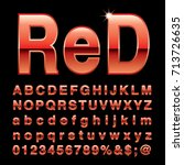 red alphabet  fat red letters ... | Shutterstock .eps vector #713726635