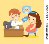pregnant mom with doctor at... | Shutterstock .eps vector #713729029