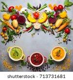 concept of healthy vegetable... | Shutterstock . vector #713731681