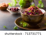 red cabbage  carrot  apple... | Shutterstock . vector #713731771