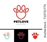 love pet or heart paw logo... | Shutterstock .eps vector #713731774