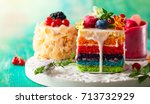 various slices of cakes on a... | Shutterstock . vector #713732929