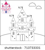 connect the dots and coloring... | Shutterstock .eps vector #713733331
