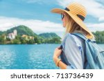 enjoying the view in nature and ... | Shutterstock . vector #713736439