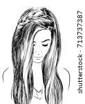 romantic hairstyles for medium... | Shutterstock .eps vector #713737387