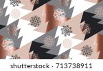 rose gold color abstract xmas tree geometry vector illustration. tender elegant christmas celebration style seamless pattern design