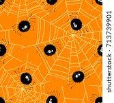 halloween seamless background... | Shutterstock .eps vector #713739901