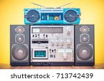 retro outdated hi fi stereo... | Shutterstock . vector #713742439